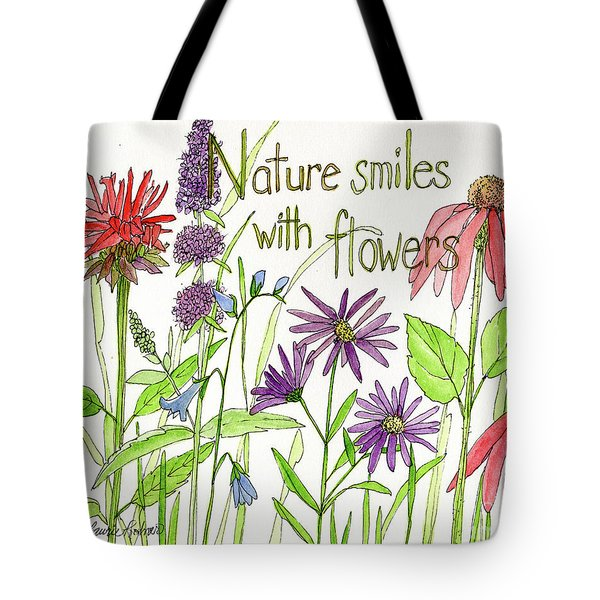 Nature Smile With Flowers Tote Bag