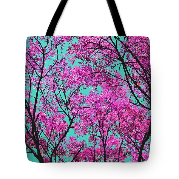 Natures Magic - Pink And Blue Tote Bag by Rebecca Harman