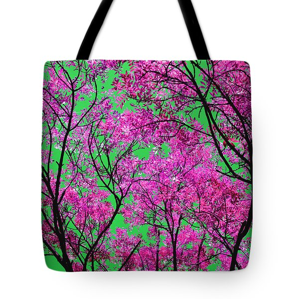 Natures Magic - Pink And Green Tote Bag by Rebecca Harman