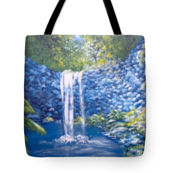 Tote Bag featuring the painting Nature's Pool by Saundra Johnson