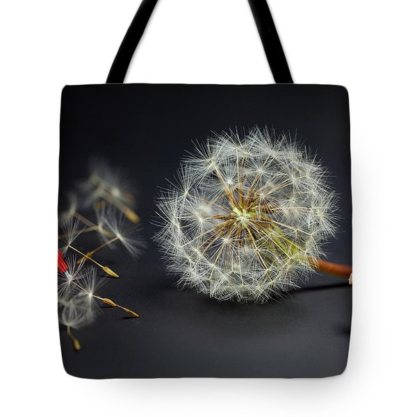 Tote Bag featuring the painting Naughty Girl Playing Dandelion Little People Big World by Paul Ge