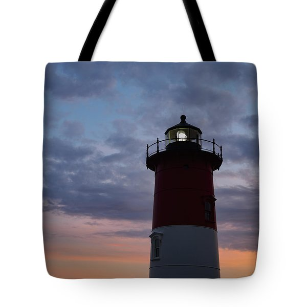 Nauset Light Lighthouse At Sunset Tote Bag