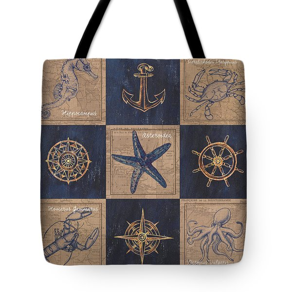 Nautical Burlap Tote Bag