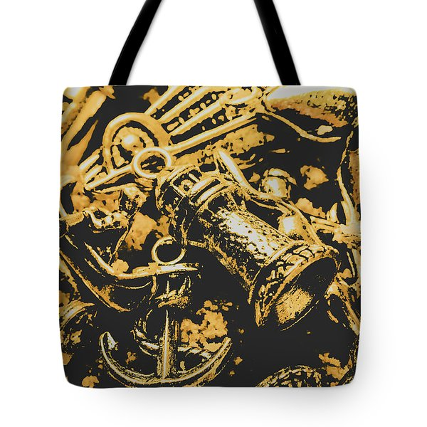 Nautical Icons In Abstract Tote Bag
