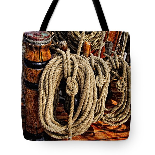 Tote Bag featuring the photograph Nautical Knots 17 Oil by Mark Myhaver