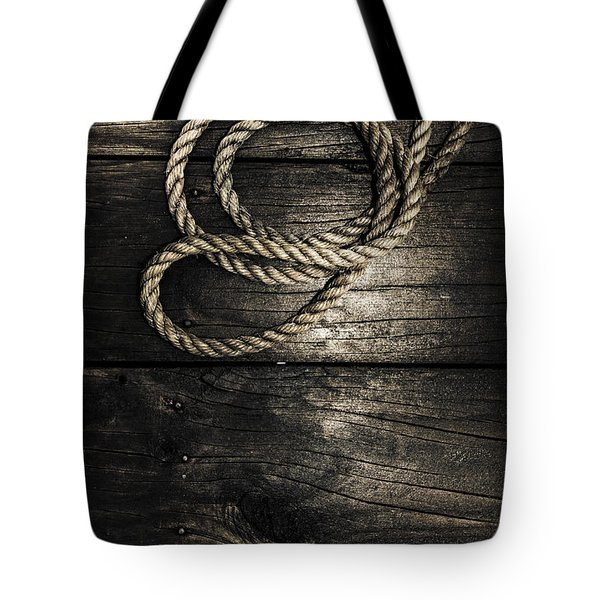 Nautical Rope On Boat Deck. Maritime Knots Tote Bag