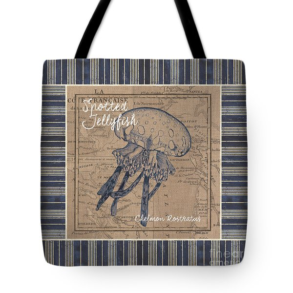 Nautical Stripes Jellyfish Tote Bag