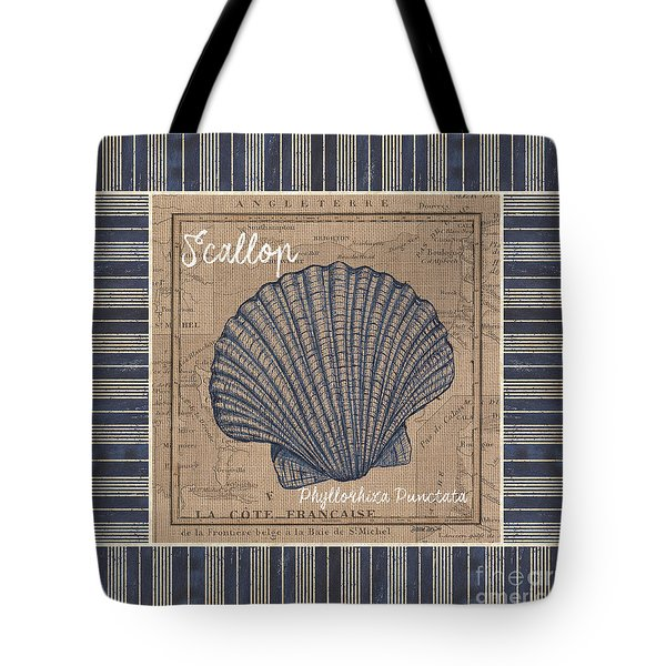 Nautical Stripes Scallop Tote Bag