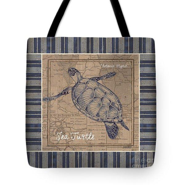 Nautical Stripes Sea Turtle Tote Bag by Debbie DeWitt