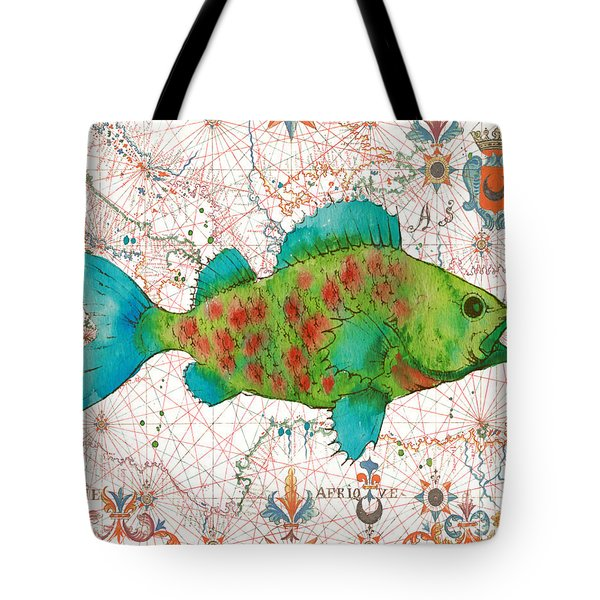 Tote Bag featuring the painting Nautical Treasures-a by Jean Plout