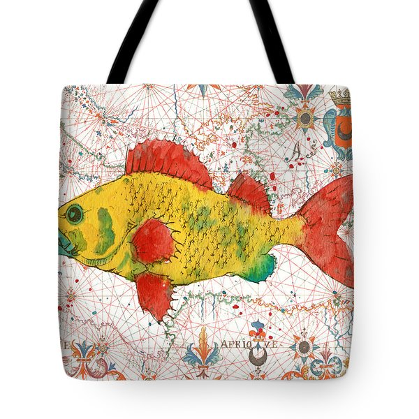 Tote Bag featuring the painting Nautical Treasures-c by Jean Plout