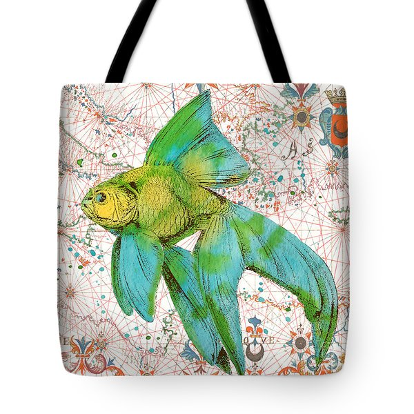 Tote Bag featuring the painting Nautical Treasures-e by Jean Plout