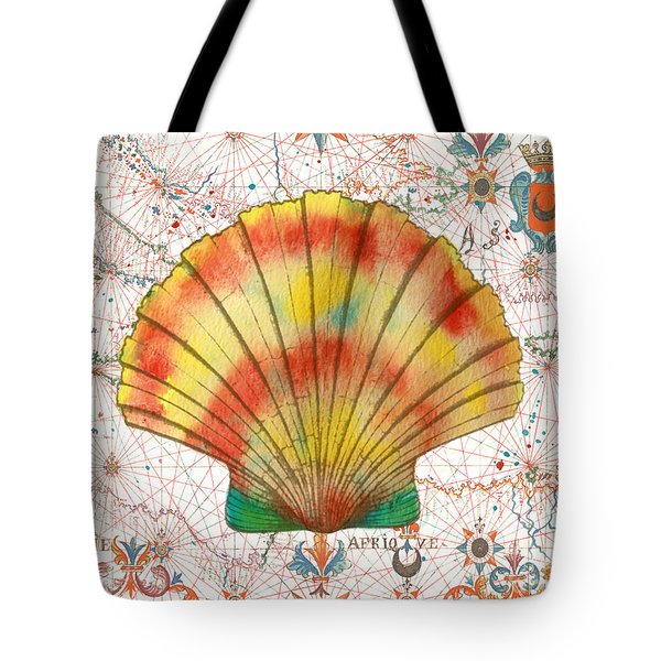 Tote Bag featuring the painting Nautical Treasures-f by Jean Plout