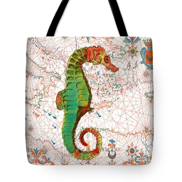 Tote Bag featuring the painting Nautical Treasures-h by Jean Plout