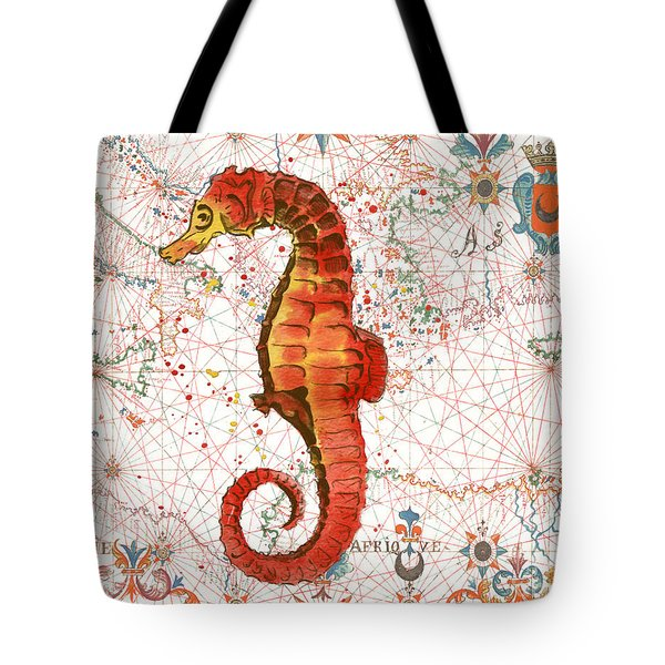 Tote Bag featuring the painting Nautical Treasures-i by Jean Plout
