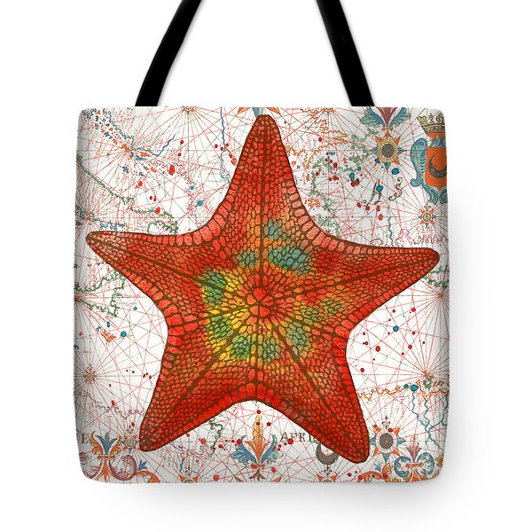 Tote Bag featuring the painting Nautical Treasures-k by Jean Plout