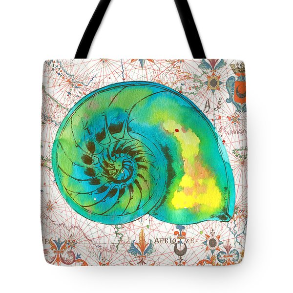 Tote Bag featuring the painting Nautical Treasures-n by Jean Plout