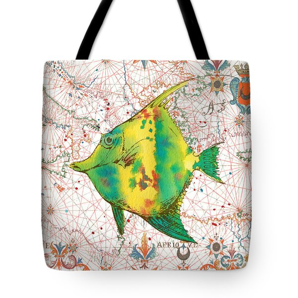 Tote Bag featuring the painting Nautical Treasures-p by Jean Plout