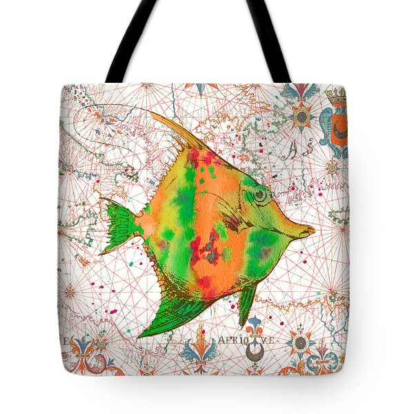 Tote Bag featuring the painting Nautical Treasures-q by Jean Plout