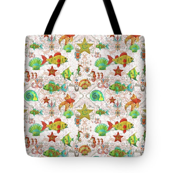 Tote Bag featuring the painting Nautical Treasures-r by Jean Plout