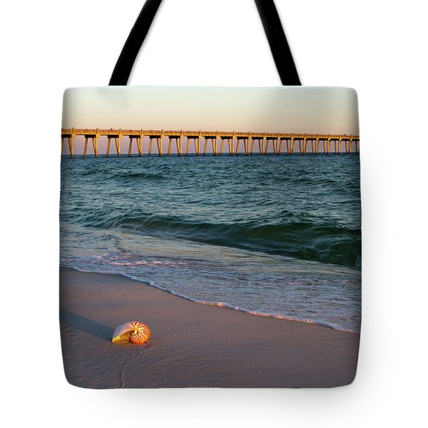 Tote Bag featuring the photograph Nautilus And Pier by Steven Frame