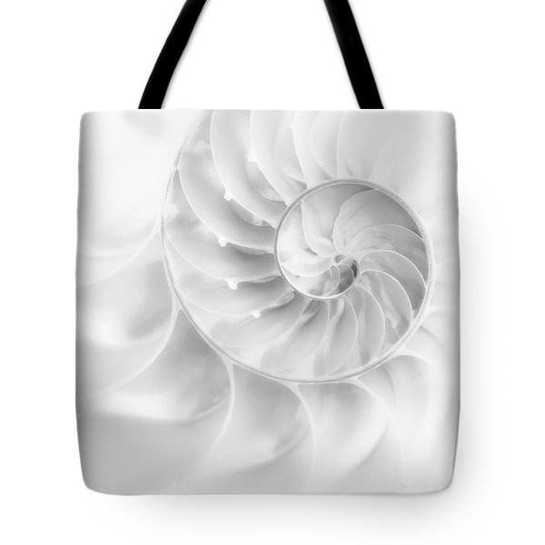 Tote Bag featuring the photograph Nautilus Shell In High Key by Tom Mc Nemar