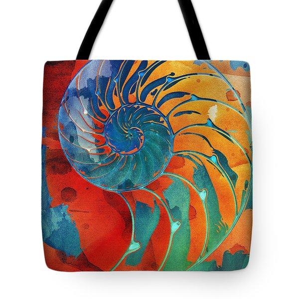 Nautilus Shell Orange Blue Green Tote Bag