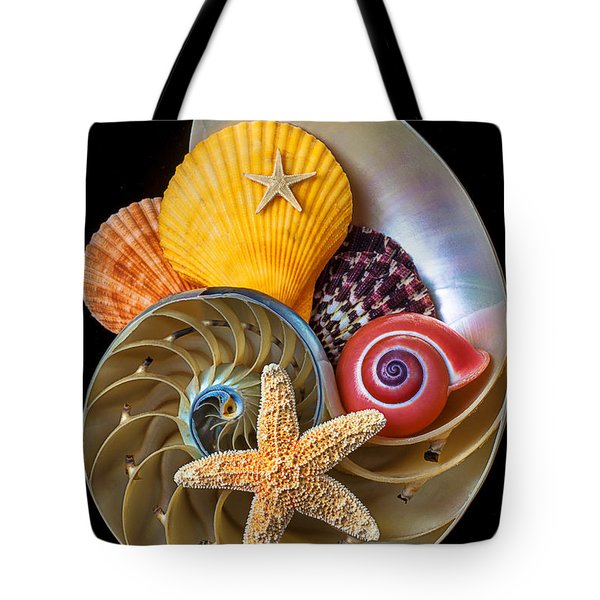 Nautilus With Sea Shells Tote Bag by Garry Gay
