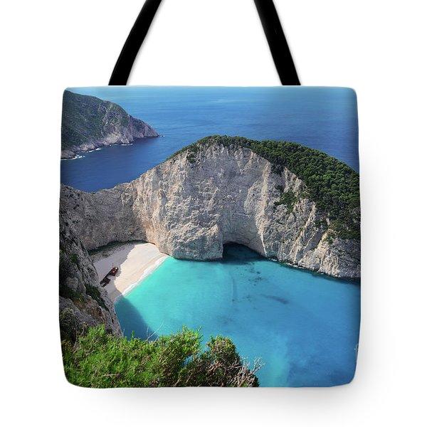 Navagio Beach Tote Bag by Anastasy Yarmolovich