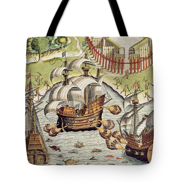 Naval Battle Between The Portuguese And French In The Seas Off The Potiguaran Territories Tote Bag
