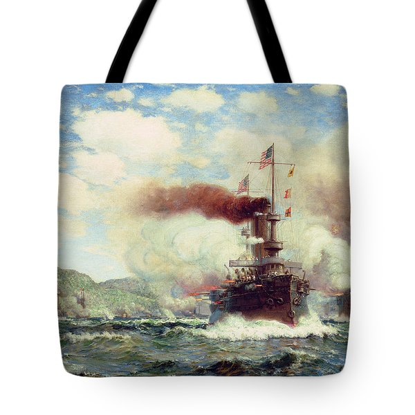Naval Battle Explosion Tote Bag by James Gale Tyler