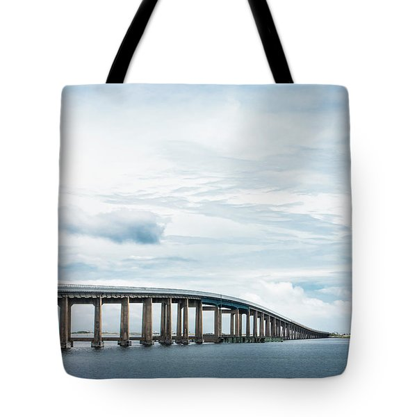 Tote Bag featuring the photograph Navarre Bridge In Florida On The Sound Side by Shelby Young