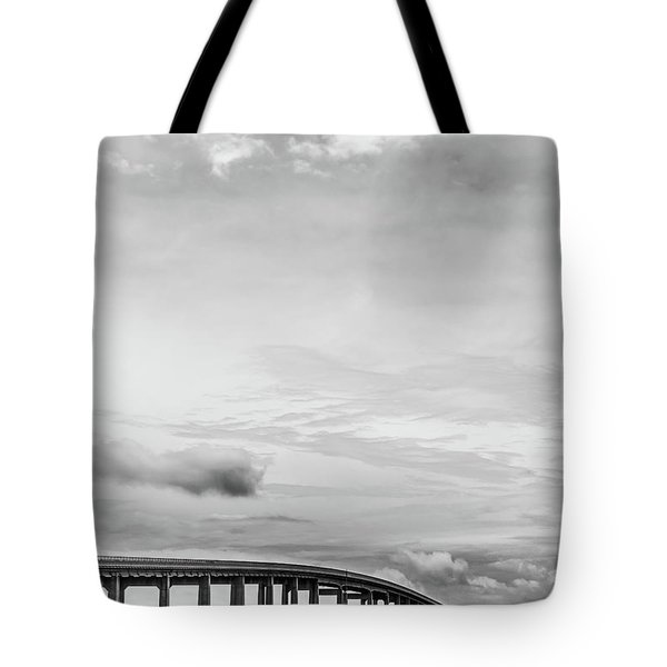 Tote Bag featuring the photograph Navarre Bridge Monochrome by Shelby Young