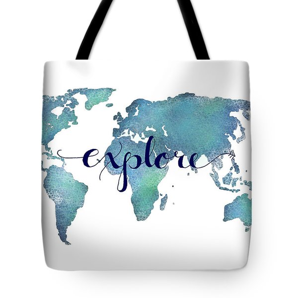 Navy And Teal Explore World Map Tote Bag