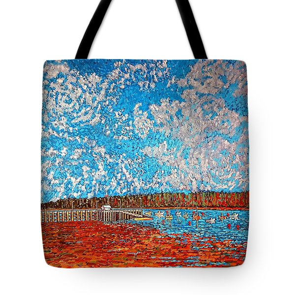 Navy Island And Market Wharf St. Andrews, Nb View From Water Street Tote Bag