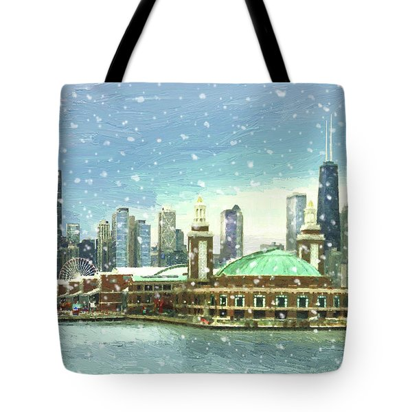 Navy Pier Winter Snow Tote Bag