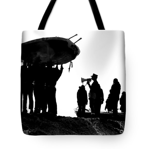 Navy Seals Hold An Inflatable Boat Tote Bag by Michael Wood