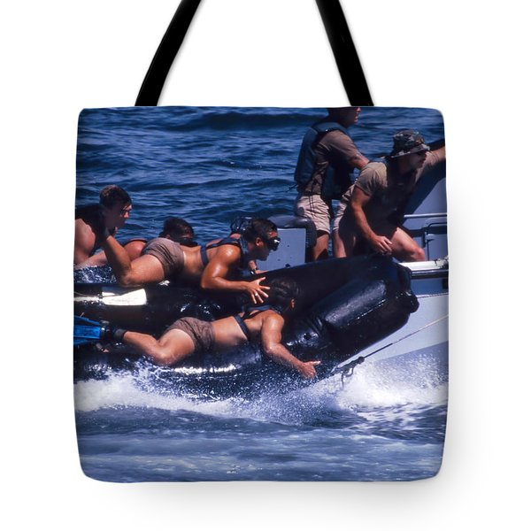 Navy Seals Practice High Speed Boat Tote Bag by Michael Wood