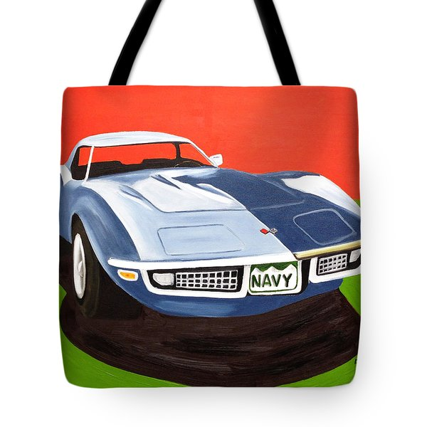 Navy Vette Tote Bag