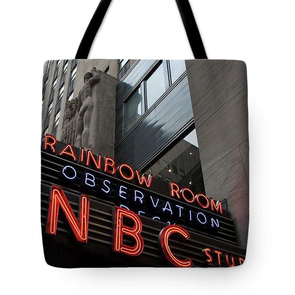 Tote Bag featuring the photograph Nbc Studio Rainbow Room Sign by Lorraine Devon Wilke