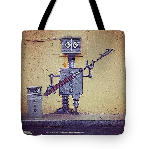 Street Art Robot Tote Bag
