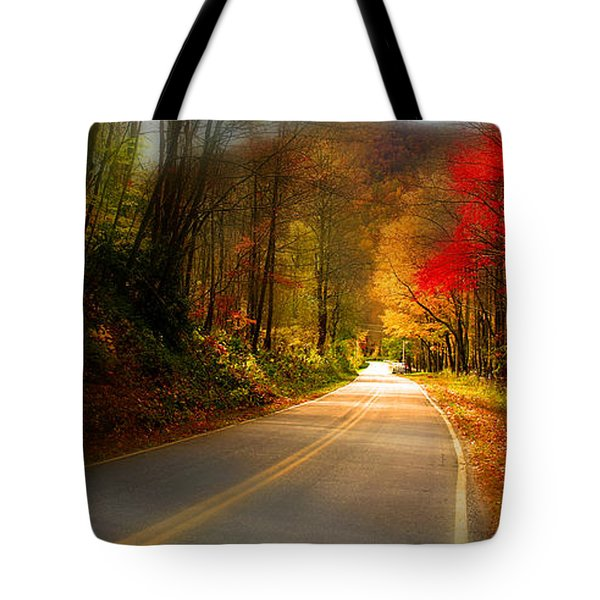 Nc Mountain Fall Drive Tote Bag