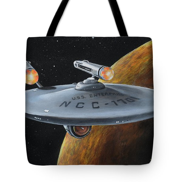 Tote Bag featuring the painting Ncc-1701 by Kim Lockman