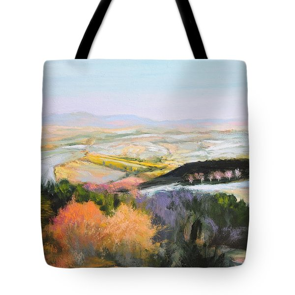 Tote Bag featuring the painting Near Clawddnewydd In North Wales. by Harry Robertson