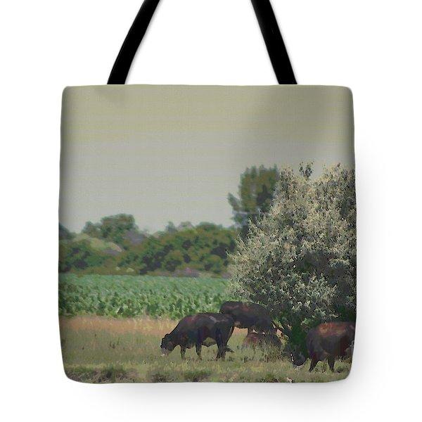 Nebraska Farm Life - Black Cows Grazing Tote Bag