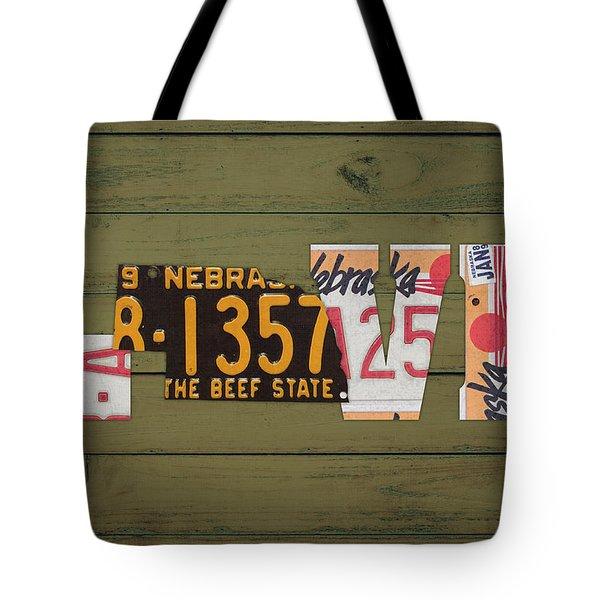 Nebraska State Love Heart License Plates Art Phrase Tote Bag