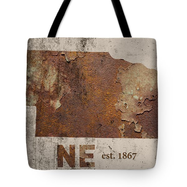 Nebraska State Map Industrial Rusted Metal On Cement Wall With Founding Date Series 039 Tote Bag