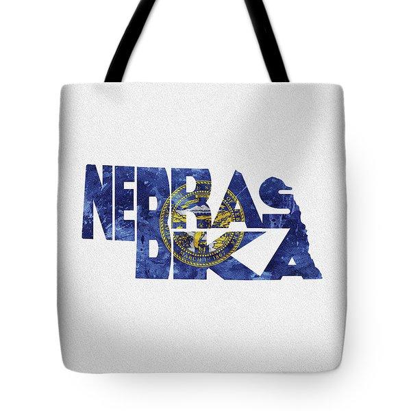 Nebraska Typographic Map Flag Tote Bag
