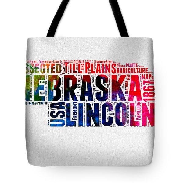 Nebraska Watercolor Word Cloud  Tote Bag