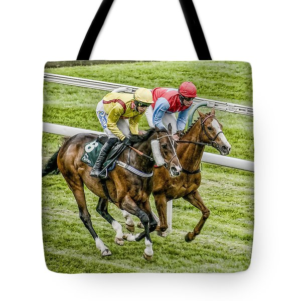 Tote Bag featuring the photograph Neck And Neck by Brian Tarr
